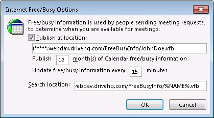 Outlook Free / Busy Information's publish location on DriveHQ WebDAV server